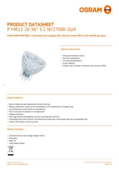 Osram PARATHOM MR11 20 36° 3.2 W//2700K GU4